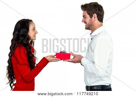 Excited young couple holding gift box on white screen