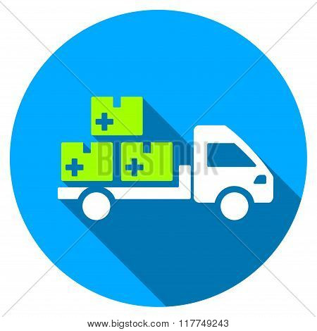 Medication Delivery Flat Round Icon with Long Shadow