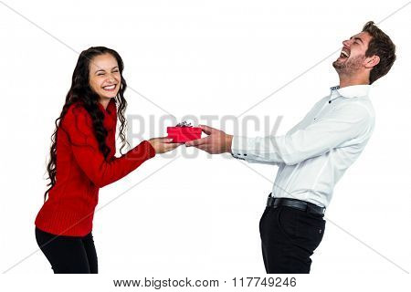 Happy young couple holding gift box on white screen