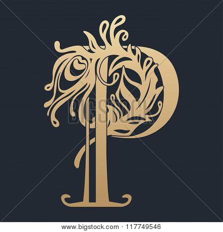 Calligraphic design element. Golden logo