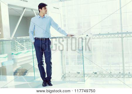 Businessman leaning on balcony railings
