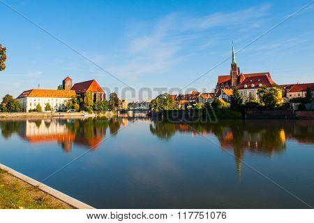 Panorama of Cathedral Island in Wroclaw
