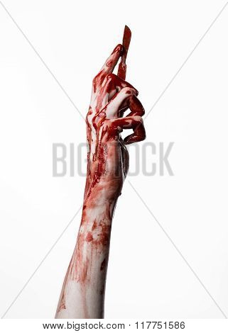 Bloody Hand With A Scalpel, A Nail, White Background, Zombie, Demon, Maniac