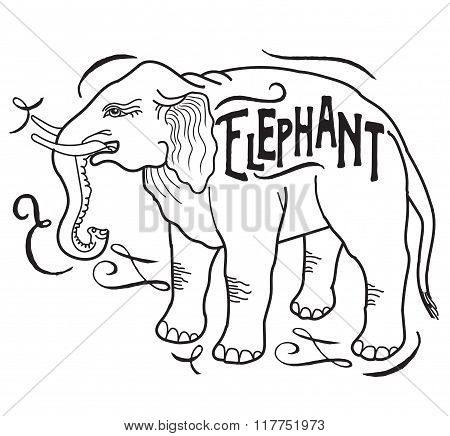 Big Animal. Elephant On A White Background. Elephant With A Sign. Contour Elephant. Hand Drawn Silhouette. Elephants In Indian Style. Vector Drawing Of An Elephant. Pencil Drawing. Vintage Elephant.