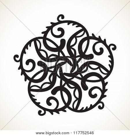 Geometric pentagonal design element, Ornamental mandala