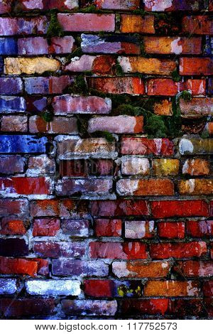 Colorful old bricks on wall that is falling apart