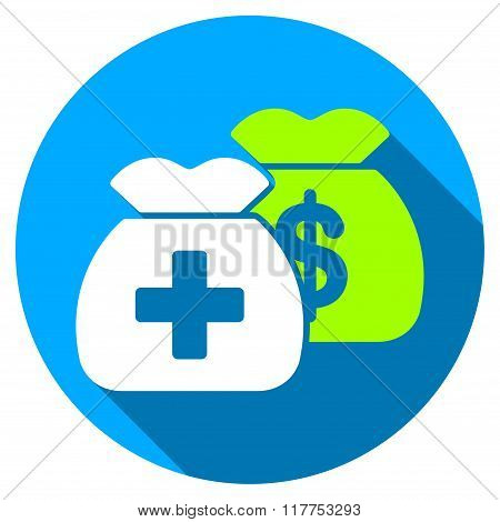 Health Care Funds Flat Round Icon With Long Shadow