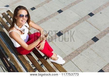 Girl having good time outdoors