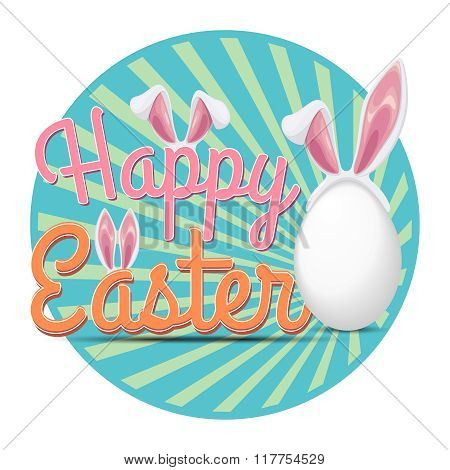Happy Easter poster with rabbit ears