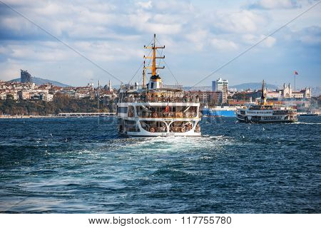 Istanbul - November 17: Ferryboat In Istanbul Turkey Transporting People From Europe To The Asia  On