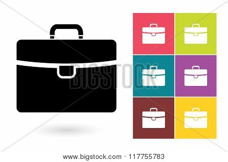 Briefcase vector icon or business briefcase symbol