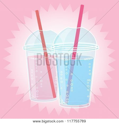Smoothie, Bubble Tea or Milk Cocktail design in pop art comic style, vector illustration