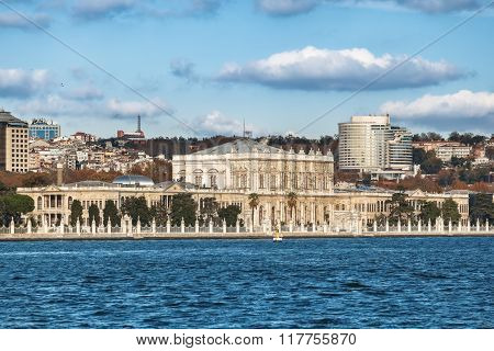 View Of Dolmabahce Palace From The Bosphorus, Istanbul, Turkey