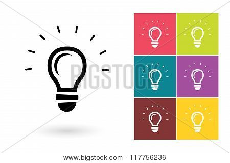 Light lamp vector icon or idea symbol