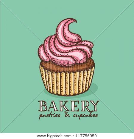 Vector hand drawn illustration of cupcake