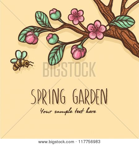Spring flower gardens card