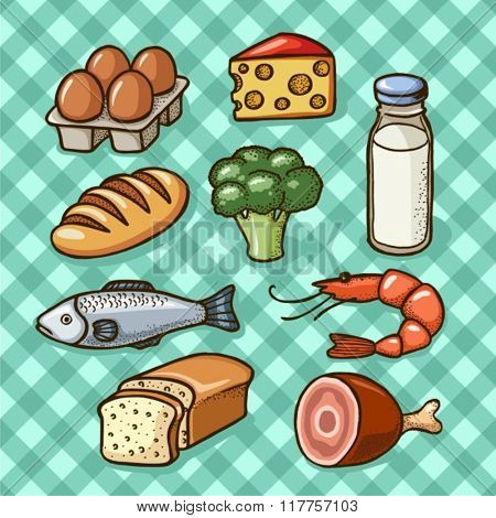 Food icons (meat, fish,eggs,cheese,milk)