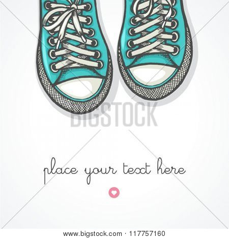 Hand drawn pair of sneakers on white background. Vector illustration.