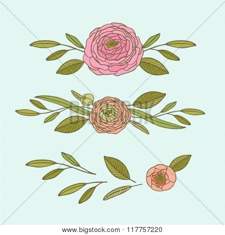 Hand-drawing floral background with flower rose. Element for design. Vector illustration.