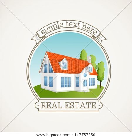 Abstract sign of real estate. Simple stylized icon of houses in the village.Vector illustration.