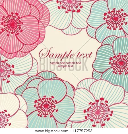 Hand-drawing floral background. Element for design. Vector illustration.