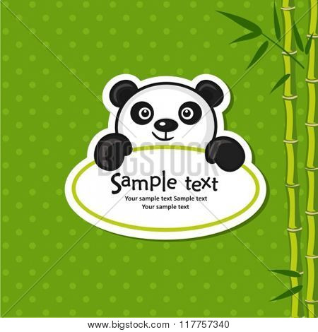 Illustration of cute panda with bamboo branch