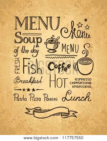 Hand drawn elements for design menu. Vintage style.