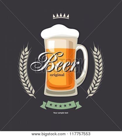 Retro beer vector poster.