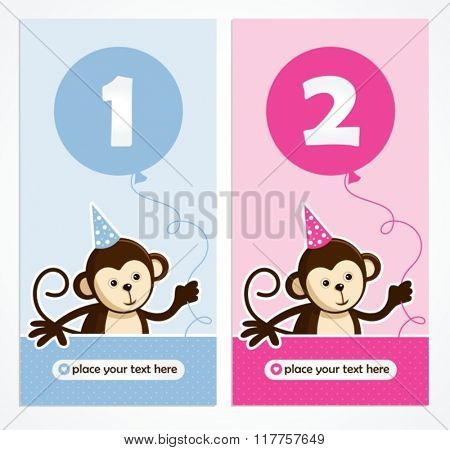 cute monkey layout design