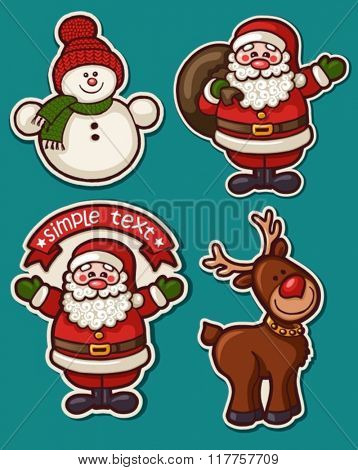 cute holiday set of winter characters stickers. Can be used as labels for sales, greeting card, baby shower, scrapbook
