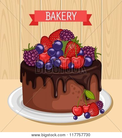 Sweet chocolate cake for birthday holiday. Vector illustration.
