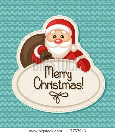 Christmas label with Santa Claus