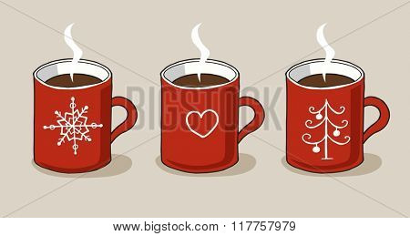 Vintage Merry Christmas And Happy New Year illustration of different colorful cups with funny and cute pictures. Greeting stylish collections. Winter coffee and tea. Warm wishes.