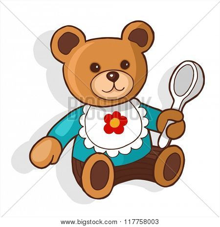 Teddy bear with spoon