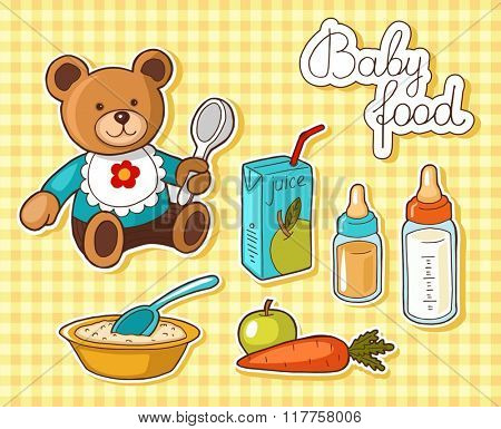 Illustrations of different baby food items