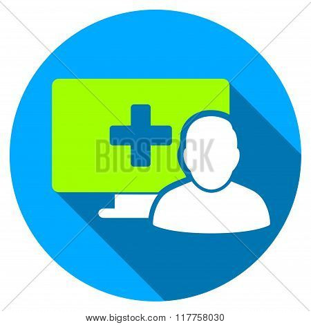 Online Medicine Flat Round Icon With Long Shadow