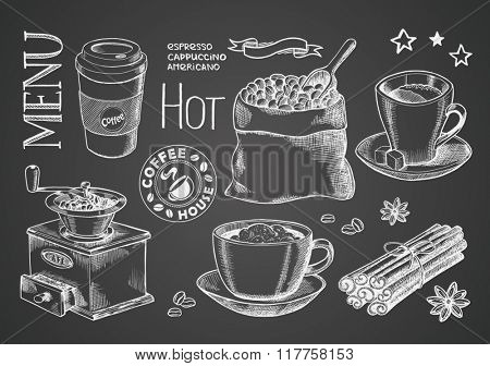 coffee collection on chalkboard