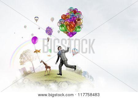 Humorous guy with balloons