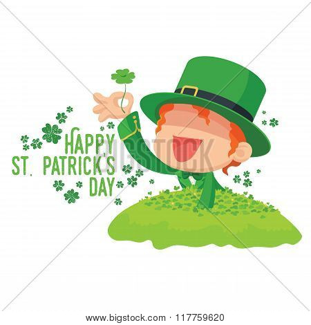 Leprechaun Found a Four-Leaf Clover for St. Patrick's Day Card