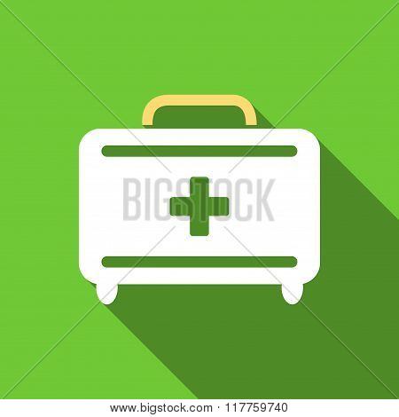 First Aid Toolkit Flat Long Shadow Square Icon