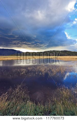 The valley is surrounded by mountains in the park Torres del Paine, Chile. The sky is partially covered with low thunderclouds.  Shallow lake, overgrown with reeds, reflects the blue sky.