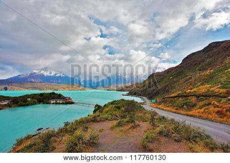 Beautiful Patagonia. Park Torres del Paine in southern Chile. Island on Lake Pehoe