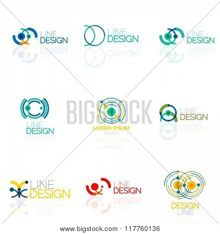 Linear vector abstract logo set, circles loops and swirls. Logotype brand templates