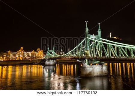 Nightshot at bridge on Danube river, Budapest city Hungary.