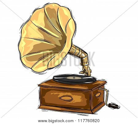 Vector Illustration Of A Gramophone Sketch Drawing