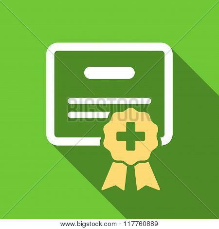 Medical Certification Flat Long Shadow Square Icon