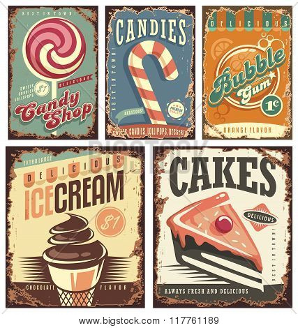 Retro posters set with sweets, cakes, ice cream and bubble gum