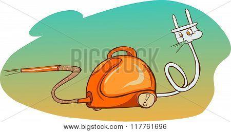 Vector Illustration Of A Cartoon Vacuum Cleaner