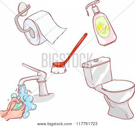 Vector Illustration Of A All For Toilet And Cleaning
