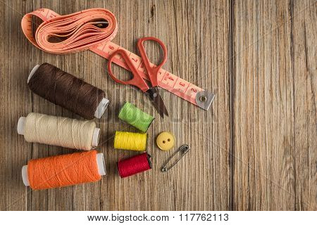Sewing Background. Accessories For Needlework